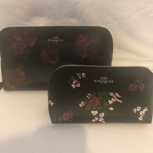 Coach - 2 make up bags with roses print NWT